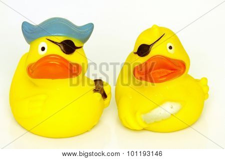 two parate rubber ducks
