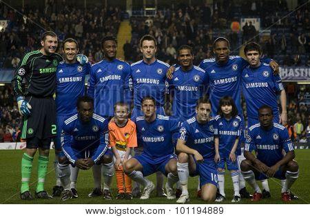 LONDON, ENGLAND. 08 December 2009. - the Chelsea team before the Uefa Champions League match, Group D, Chelsea v Apoel Nicosia at Stamford Bridge, London, UK.