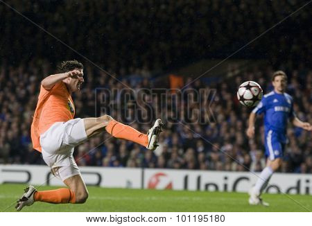LONDON, ENGLAND. 08 December 2009. - Marcin Zewlakow playing for APOEL FC  during the Uefa Champions League match, between Chelsea and Apoel Nicosia at Stamford Bridge.