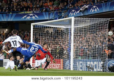 LONDON, ENGLAND. 06 DECEMBER 2011. Valencia's goalkeeper Diego Alves saves a shot from Chelsea's forward Daniel Sturridge during the UEFA Champions League match between Chelsea and Valencia from Spain