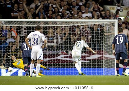 LONDON ENGLAND 25 August 2011.  Tottenhams Harry Kane has a penalty saved by Hearts player Jamie MacDonald during the UEFA Europa league match between Tottenham Hotspurs  and Hearts.