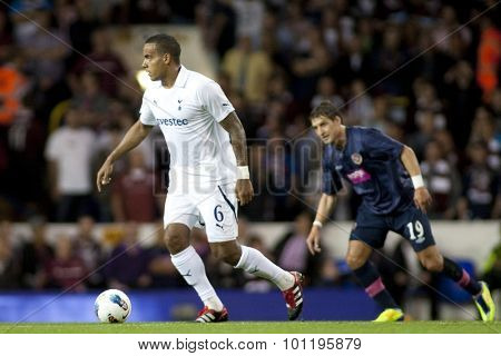 LONDON ENGLAND 25 August 2011. Tottenham's Tom Huddlestone in action during the UEFA Europa league match between Tottenham Hotspurs  and Hearts. Played at White Hart Lane.