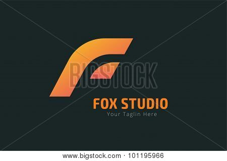 Fox or lion face logo vector template