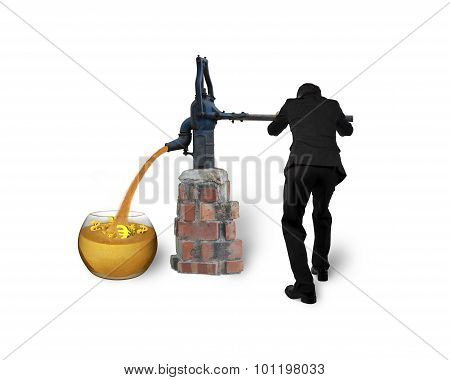 Businessman Drawing Out Golden Sand Currency Symbols Retro Pump