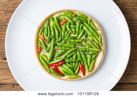Little Thai Chili Spicy On Basketry White Plate Ingredient For Thai Food Cuisine