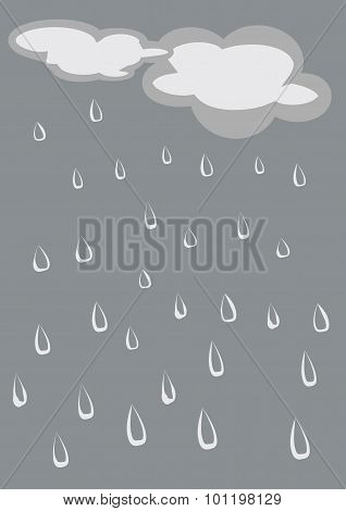 Rainy sky vector illustration.