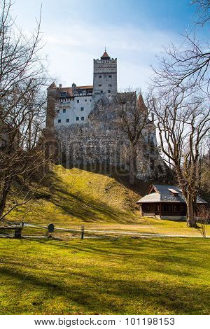 View from the back yard of Bran Castle, Romania, known for the story of Dracula