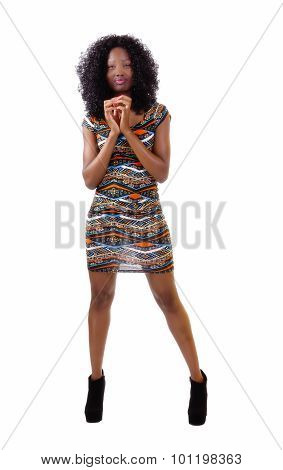 Skinny African American Woman Standing In Dress