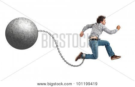 man with ball and chain on white