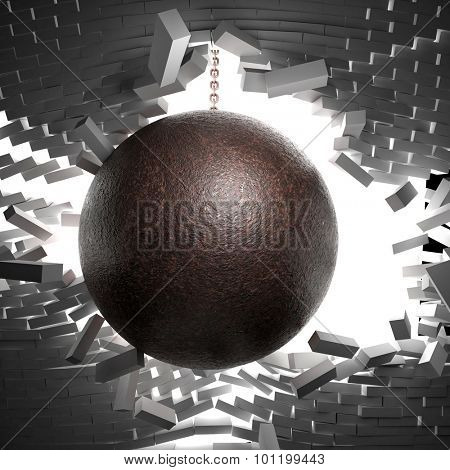 3d image of huge ball and chain