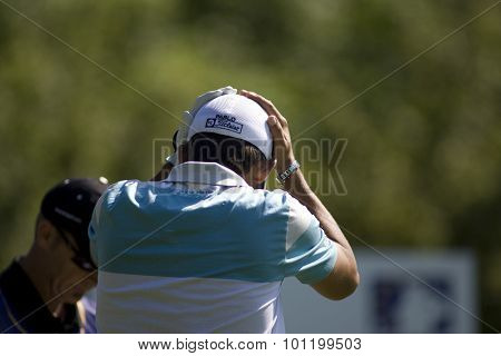 KENT ENGLAND, 30 MAY 2009. Pablo LARRAZçBAL (ESP) puts his head in his hands after a hooked drive on the 4th tee playing in the third round of the European Tour European Open golf tournament.