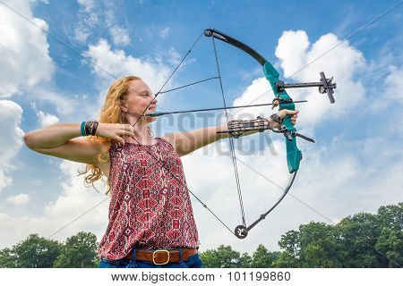 Woman Shooting with Compound Bow