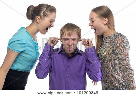 Screaming women and young man