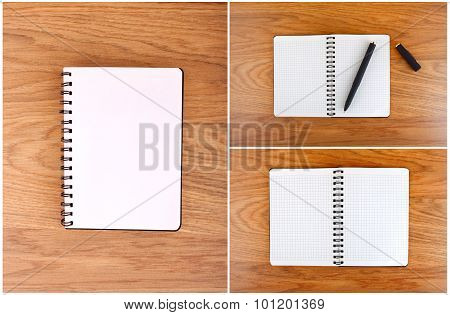Notepad with a spiral binding and checkered sheets on a wooden background.
