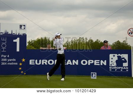 KENT ENGLAND, 27 MAY 2009. Gregory BOURDY (FRA) teeing off on the  first tee playing in the first round of the European Tour European Open golf tournament.