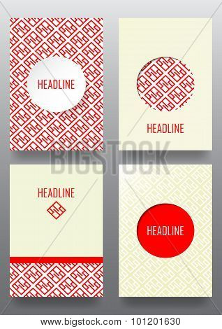 Set Of Brochures With Ethnic Ornament Pattern In White Red Colors