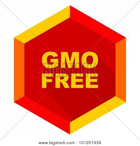gmo free flat design modern icon with long shadow for web and mobile app