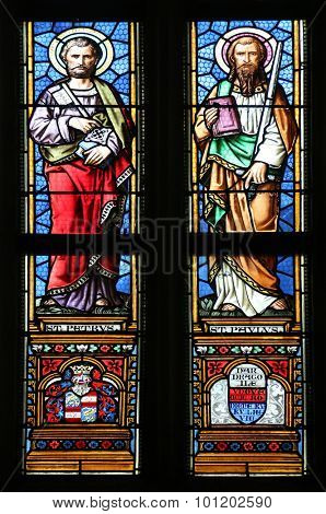 ZAGREB, CROATIA - NOVEMBER 21: Saint Peter and Paul, stained glass window in parish church of Saint Mark in Zagreb, Croatia on November 21, 2014