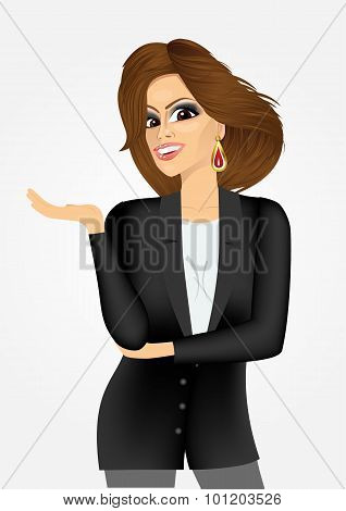 young business woman showing something