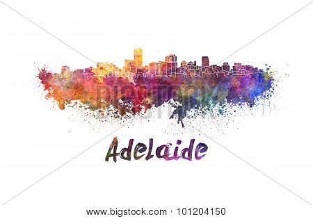 Adelaide Skyline In Watercolor