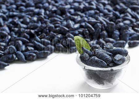 Honeysuckle Blue Berry Fruits In A Glass Bowl