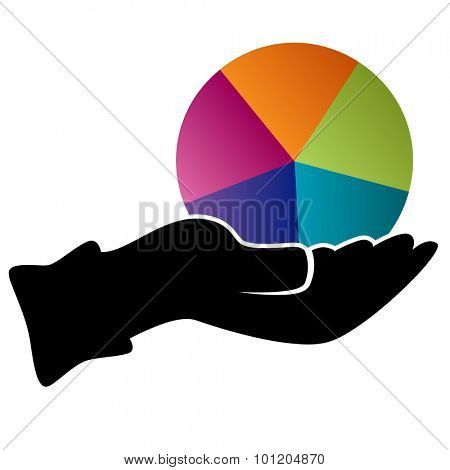 An image of a hand holding a pie chart representing diversification icon.