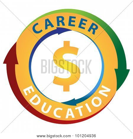 An image of education leading to making more money in your career icon.