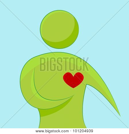 An image of an abstract person pointing to his heart.
