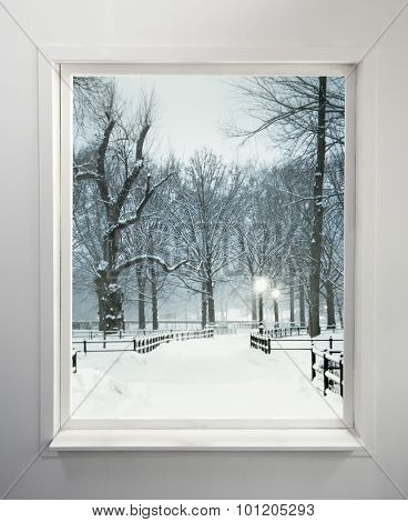 Residential window with snowy park view