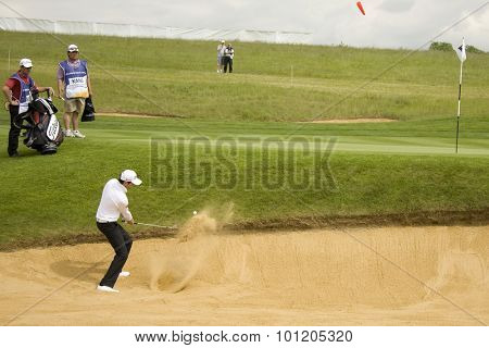KENT ENGLAND, 27 MAY 2009. Gregory BOURDY (FRA) playing a shot from the bunker playing in the first round of the European Tour European Open golf tournament.