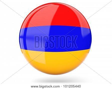 Round Icon With Flag Of Armenia