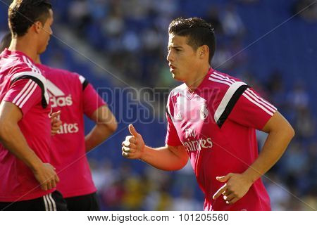BARCELONA - MAY, 2015: James Rodriguez of Real Madrid of before a Spanish League match against RCD Espanyol at the Power8 stadium on Maig 17 2015 in Barcelona Spain