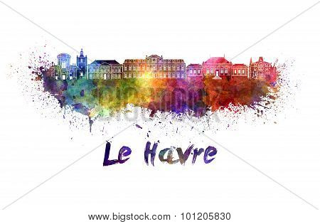 Le Havre Skyline In Watercolor