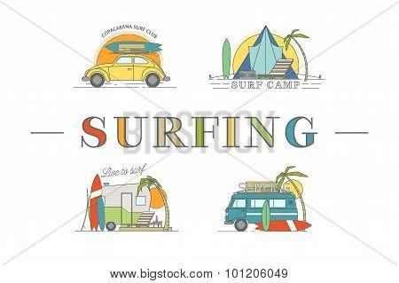 Vector line surfing illustration.