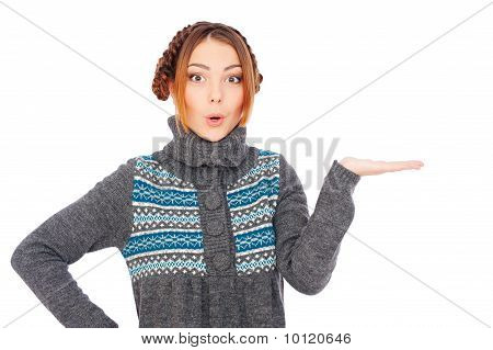 Pretty Surprised Woman Holding Something