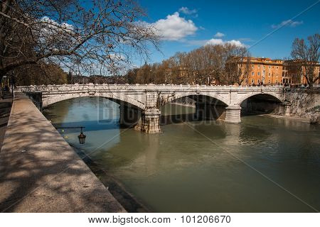 Picturesque Landscape  On Tiber River, Rome, Italy