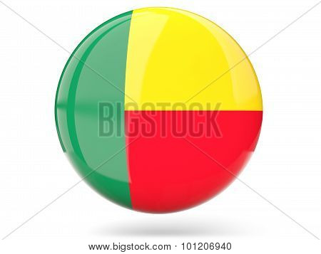 Round Icon With Flag Of Benin