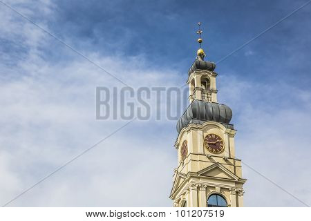 View Of City Hall Tower And The Main Square In Old City Of Riga, Latvia.