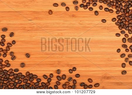 Coffee Beans Corners Over Bamboo Wood Background