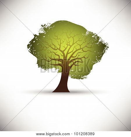 Abstract tree on a gray background