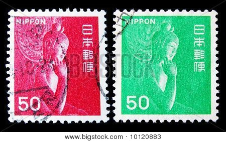 JAPAN - CIRCA 1970s: A post stamp printed in Japan shows statue  of Buddha