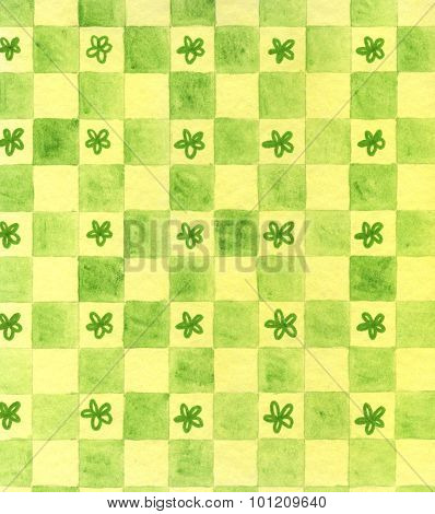 Yellow and green painted chess with flowers
