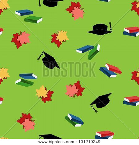 Seamless pattern with leaves and graduation hats