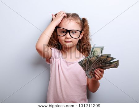 Small Professor In Eye Glasses Scratching Head, Holding Money And Thinking How Earring More. Kid Hav