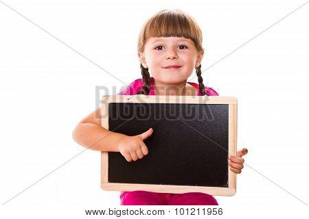 Little Girl Holding Black Board On White Background