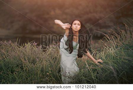 Fantasy fairytale, beautiful but alarmed woman - wood nymph among tall grass and rays of sun. Outdoo