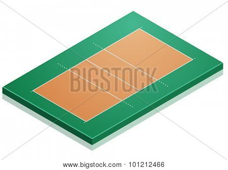 detailed illustration of a Volleyball Court with isometric perspective, eps10 vector