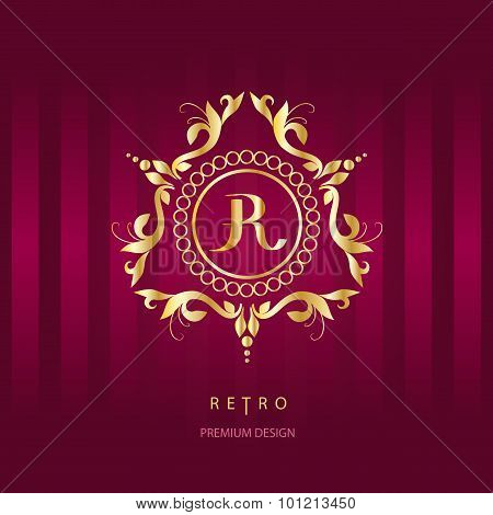 Monogram Design Elements. Letter R. Calligraphic Elegant Line Art Logo Design.