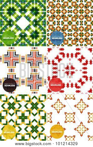 Vector set of colorful seamless geometric patterns. Modern stylish abstract textures. Backgrounds and wallpapers