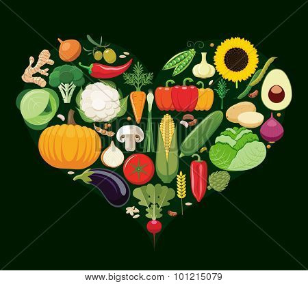 Set of vegetable icons forming heart shape. Vegetarian food icons. Healthy low fat food preventing cardiac disease. Vector illustration.